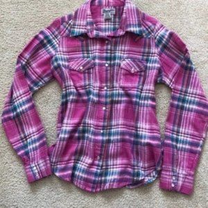 Wrangler Pink Plaid Button Down Top Large